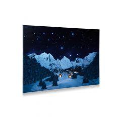 Achtergrond canvas berglandschap nacht 76x56 cm My village