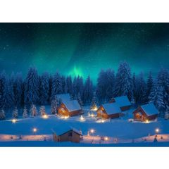 Achtergrond canvas led noorderlicht 76x56 cm My Village