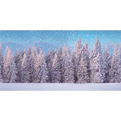 Achtergrond doek Sneeuwbos XL 300 x 150 cm kersthuisje My Village